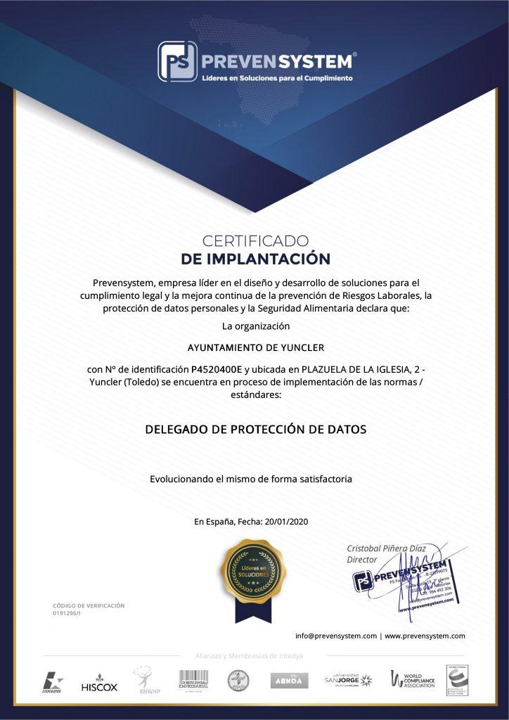 certificado de implantación
